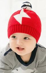 หมวกไหมพรมเด็กลายสายฟ้า ด้านบนแต่งตุ๊กตาหิมะ GZMM