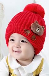 หมวกไหมพรมแต่งตุ๊กตาหมีน้อยน้ำตาล