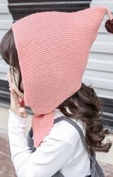หมวกไหมพรมสาวน้อยยอดแหลม ปลายล่างยาวผูกเป็นโบว์