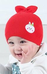 หมวกเด็กเล็กผ้าไหมพรมแต่งหู หน้าปักกระต่าย