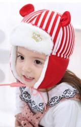 หมวกกันหนาวลายทางแต่งหู หน้าปักมงกุฎ