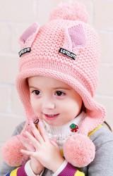 หมวกไหมพรมสาวน้อยแต่งหูแหลม อักษร LOVELOVE จาก  Bilamila