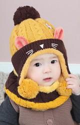 เซ็ตหมวกไหมพรมแมวเหมียวน่ารัก มาพร้อมผ้าสวมคอ