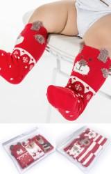 ถุงเท้าคริสต์มาสแบบยาว แพ็ค 3 คู่