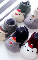 ถุงเท้าเด็กลายหน้าสัตว์น้อยใส่หมวกคริสมาสต์ แบบหนา
