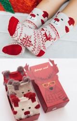 ถุงเท้าเด็กหน้าหมีน้อยลายคริสต์มาส กล่อง 3 คู่