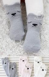 ถุงเท้าเด็กลายหมีน้อย ถุงเท้าแบบฟูนุ่มๆ จาก Kacakid
