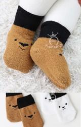 ถุงเท้าเด็กลายหมีและเจ้าตูบตัดขอบดำ Kacakid