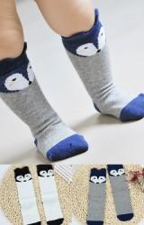 ถุงเท้าเด็กแบบยาวลายหน้าจิ้งจอกน่ารัก ไม่มีกันลื่น