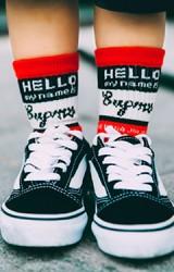 ถุงเท้าเด็กลายอักษร HELLO ไม่มีกันลื่น