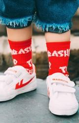 ถุงเท้าเด็กลายอักษร THRASHER ไม่มีกันลื่น
