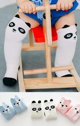ถุงเท้าเด็กแบบหนาลายหน้าหมีน้อยและแพนด้า แบบข้อยาว