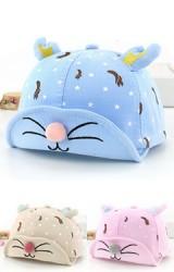 หมวกแก๊ปหน้าแมวน้อยลายกระรอกแต่งเขาน่ารัก