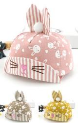 หมวกแก๊ปกระต่ายน้อยน่ารัก ปีกหมวกและหูลายทาง
