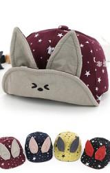 หมวกแก๊ปหูกระต่ายลายดาว จาก KUKUJI