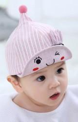 หมวกแก๊ปยอดแหลมลายทางแต่งหูกระต่ายเล็ก