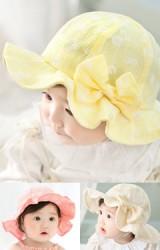 หมวกสาวน้อยลายดอกซี่ แต่งโบว์น่ารัก
