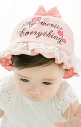 หมวกสาวน้อยปักอักษร My sweetie Everything และกุหลาบแดง GZMM
