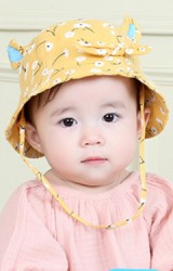 หมวกสาวน้อยลายดอกแต่งหู ด้านหน้าแต่งโบว์TIANYIBEAR
