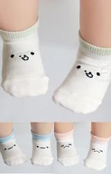 ถุงเท้าเด็กสีขาวครีมหน้าการ์ตูนตัดขอบสี Kacakid