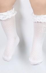 ถุงเท้าเด็กหญิงแบบบางขอบระบายลูกไม้ มีกันลื่น