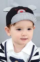 หมวกแก๊ปเด็กปักหน้าหมีน้อย แต่งปีกหมวกและหูลายตาราง