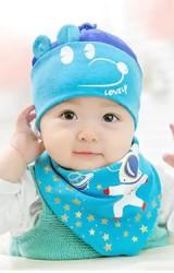 เซ็ตหมวกเด็กอ่อนหน้ามิกกี้มาพร้อมผ้ากันเปื้อนสามเหลี่ยม GZMM