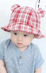หมวกกันแดดเด็กลายตารางแต่งหูน่ารัก
