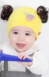 หมวกปอยผมผ้ายืดแต่งลูกไม้และโบว์เล็กน่ารัก TIANYIBEAR