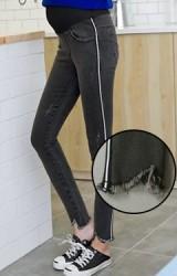 กางเกงยีนส์คนท้องขายยาวสีดำเทา เดินเส้นด้านข้าง