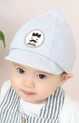 หมวกแก๊ปยอดแหลมลายตาราง ปัก Hello