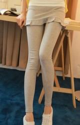 กางเกงกระโปรงคนท้อง ปลายกระโปรงระบายน่ารัก
