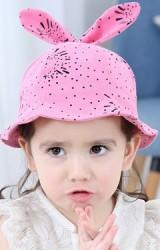 หมวกสาวน้อยลายจุดด้านบนแต่งโบว์น่ารัก