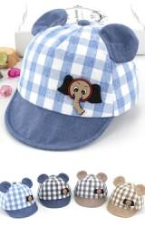 หมวกแก๊ปลายตารางแต่งรูปช้าง