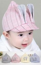 หมวกแก๊ปยอดแหลมลายตารางแต่งหูกระต่ายยาว