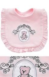 ผ้ากันเปื้อนเด็กสีชมพูชายรอบระบายหวาน ปักลายหมี
