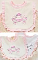 ผ้ากันเปื้อนเด็ก รอบระบายสีชมพูหวาน ปักลายสวย