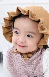 หมวกบอนเนตผ้าลูกฟูกชายระบายสวย
