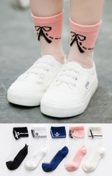 ถุงเท้าเด็กฤดูร้อนลายปกเสื้อแพ็ค 5 คู่ สี ขาว ครีม ชมพู น้ำเงิน และ ดำ(C622)