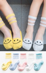 ถุงเท้าเด็กฤดูร้อนลายหน้ายิ้ม แพ็ค 5 คู่(C625)