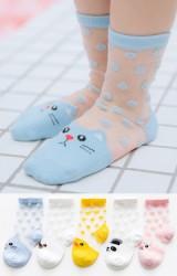 ถุงเท้าเด็กฤดูร้อนลายจุดหน้าสัตว์น่ารัก แพ็ค 5 คู่(C626)