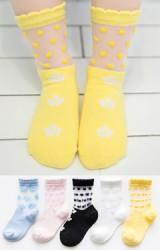 ถุงเท้าเด็กฤดูร้อนลายจุดและดาวน่ารักๆ แพ็ค 5 คู่(C627)