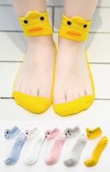 ถุงเท้าเด็กฤดูร้อนขอบหน้าสัตวน่ารัก แพ็ค 5 คู่ สีชมพู เทา ขาว เหลือง และ ฟ้า(C613)
