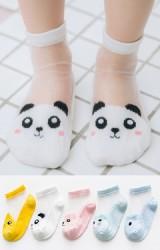 ถุงเท้าเด็กฤดูร้อนลายหน้าสัตว์น่ารัก แพ็ค 5 คู่ สีขาว ชมพู เหลือง ฟ้า และ เขียว(C618)