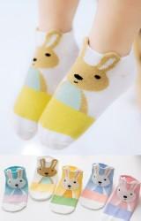 ถุงเท้าเด็กลายกระต่ายน้อย สีสดใส แพ็ค 5 คู่(C601)