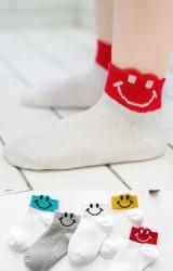 ถุงเท้าเด็กขอบลายยิ้ม แพ็ค 5 คู่(C603)