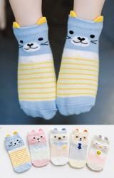 ถุงเท้าเด็กลายหน้าสัตว์น้อย แต่งหูเล็กๆ แพ็ค 5 คู่(C605)