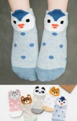 ถุงเท้าเด็กลายหน้าสัตว์น้อยน่ารัก แพ็ค 5 คู่ (C606)