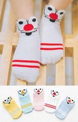 ถุงเท้าเด็กลายหน้าการ์ตูนตาโต แพ็ค 5 คู่(C598)