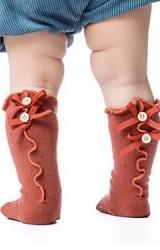 ถุงเท้าเด็กด้านหลังดีไซน์ระบายริ้วแต่งโบว์คู่น่ารัก
